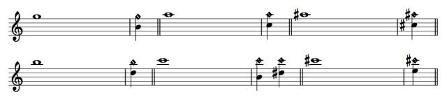 trills - g to c harmonics